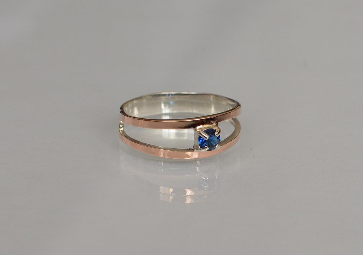 Срібна каблучка з пластинами із золота 0af3752709403