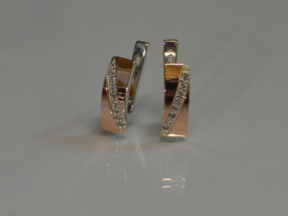 536251b59a71f1 Срібні сережки з золотими накладками купить, Срібні сережки з ...