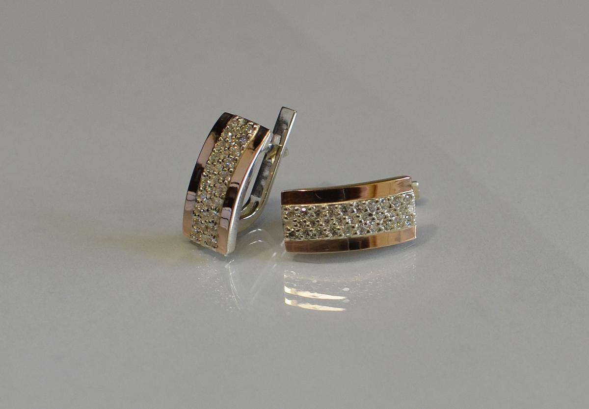 Срібні сережки з золотими пластинами купить 0c180109fc874